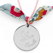 Collier grande médaille colombe et prénom sur cordon Argent massif
