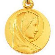Médaille Virgo Maria Or 18 carats, chaîne Or 18 carats en option