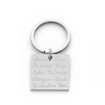 Porte-clé carré en acier gravure prénoms