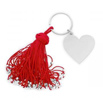 Porte-clé pompon passementerie et grand coeur en acier