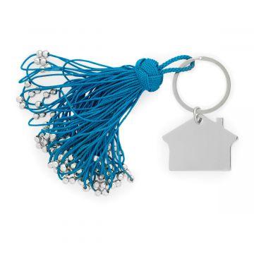 Porte-clé pompon passementerie et maison en acier