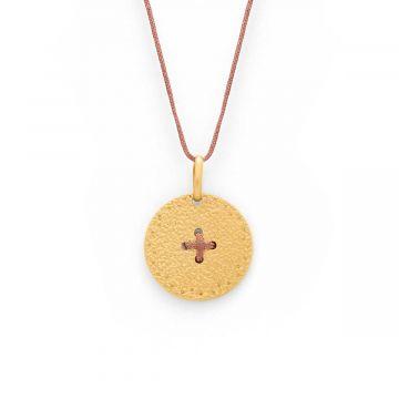 Collier médaille Hélios sur lien plaqué Or