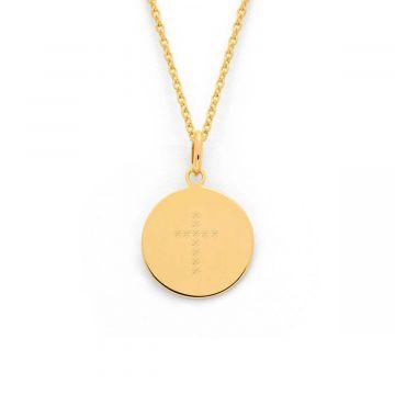 Collier petite médaille croix étoilée plaqué Or