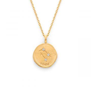 Collier médaille signe astrologique sur chaîne maille forçat plaqué Or