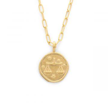 Collier médaille signe du zodiaque sur chaîne maillon ovale plaqué Or