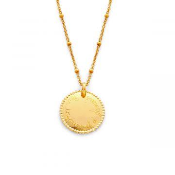 Collier médaille perlée sur chaîne maille perlée