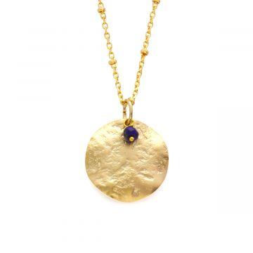 Collier rond maya sur chaîne perlée et pierre fine plaqué Or