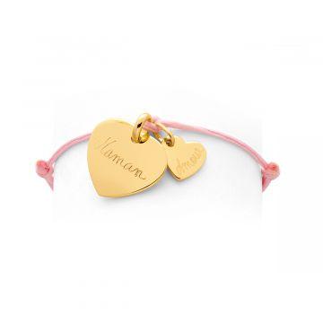 Bracelet 1 breloque, 1 mini breloque sur lien coton plaqué Or