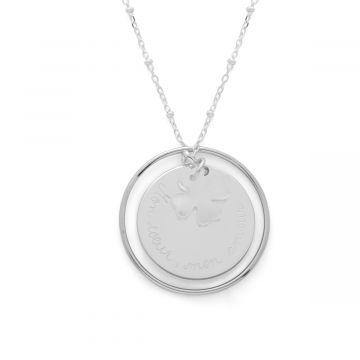 Collier ellipse médaille et nacre fine sur chaîne perlée Argent massif