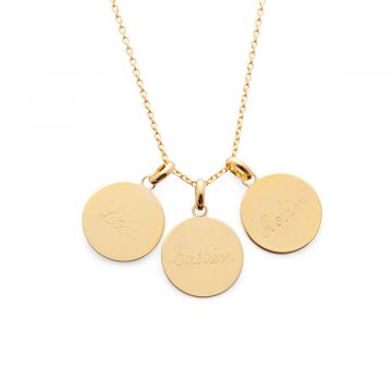 Sautoir petites médailles plates sur chaîne forçat à composer plaqué Or (gravure manuelle)