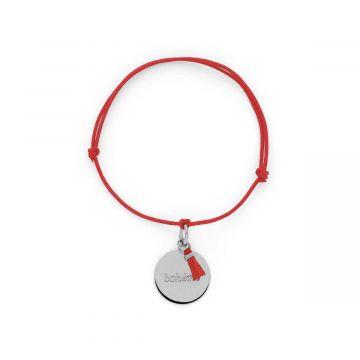 Bracelet petite médaille à message et mini pompon Argent massif