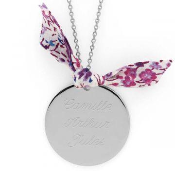 Collier grande médaille et noeud Liberty Argent massif (gravure joaillier)
