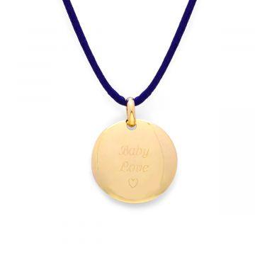 Collier 1 breloque sur lien satin plaqué Or (gravure joaillier)