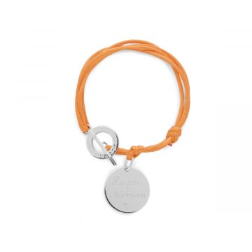 Bracelet 1 breloque proche du fermoir sur lien satin Argent massif