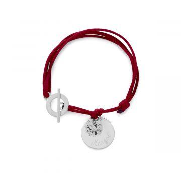 Bracelet 1 breloque, 1 mini breloque proche du fermoir Argent massif (gravure manuelle)
