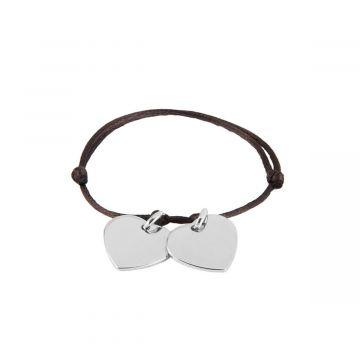 Bracelet à composer sur lien satin Argent massif (gravure joaillier)