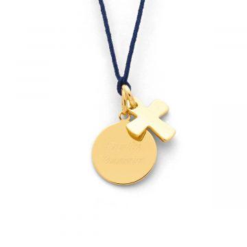 Collier petite médaille plate et petite croix (gravure joaillier)