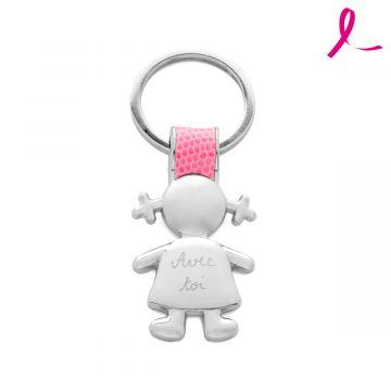 Porte clé acier et cuir Fille rose - Octobre Rose