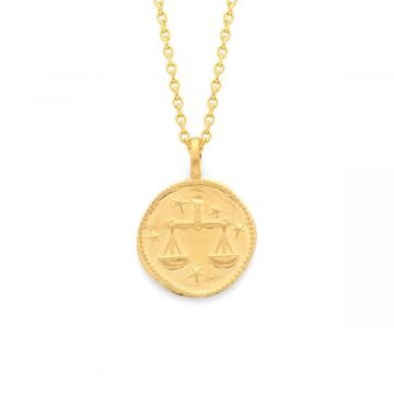 Collier médaille signe du zodiaque sur chaîne maille forçat plaqué Or