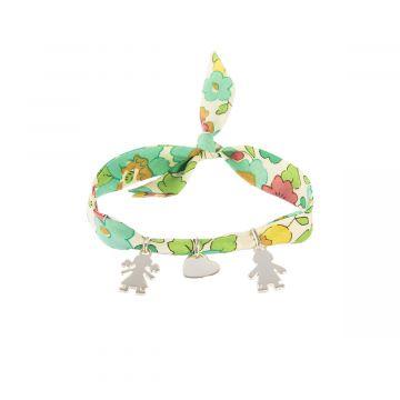 Bracelet mini breloques à composer sur ruban Liberty Argent massif (gravure manuelle)