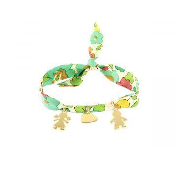 Bracelet mini breloques à composer sur ruban Liberty plaqué Or (gravure manuelle)