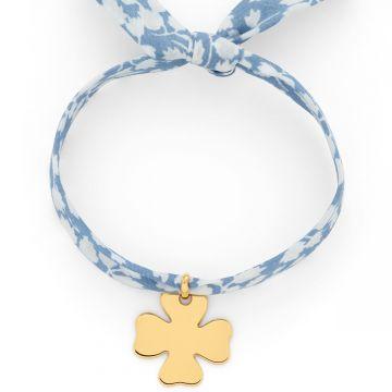 Bracelet 1 breloque sur Liberty plaqué Or (gravure manuelle)