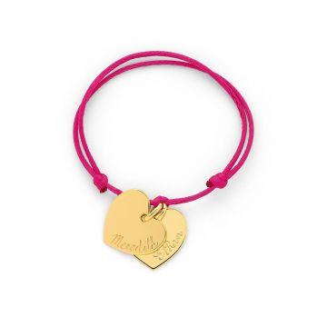 Bracelet 2 coeurs plats liés plaqué Or (gravure manuelle)