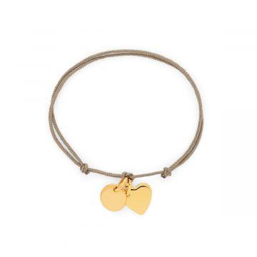 Bracelet 2 mini breloques liées plaqué Or (gravure manuelle)