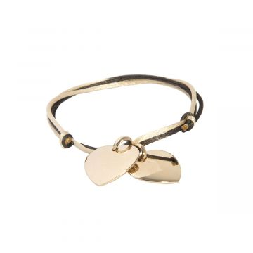 Bracelet 2 coeurs bombés liés plaqué Or (gravure manuelle)