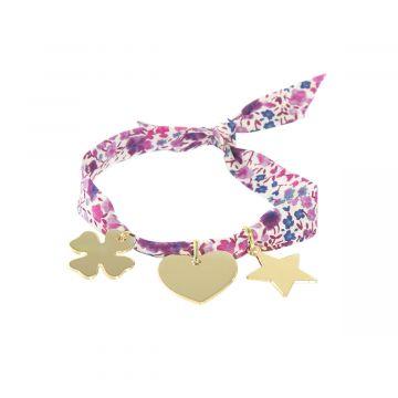 Bracelet à composer sur ruban Liberty plaqué Or (gravure manuelle)