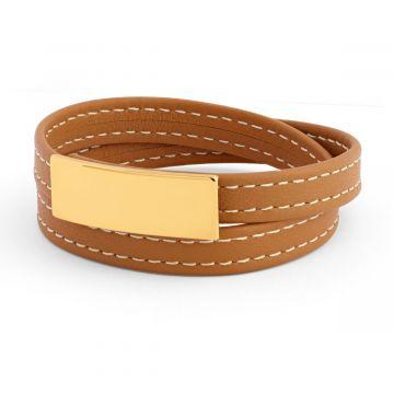 Bracelet cuir sellier et plaque gravure joaillier Plaqué or