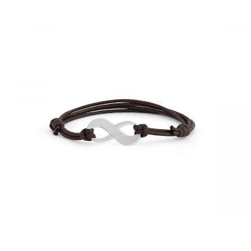 Bracelet infini sur coton ciré pour homme (gravure manuelle)