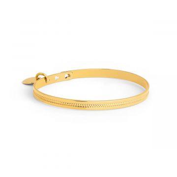 Jonc ruban perles 1 ligne et mini breloque plaqué Or