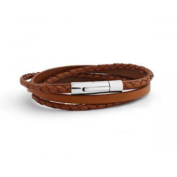 Bracelet Le Tressé  en cuir véritable