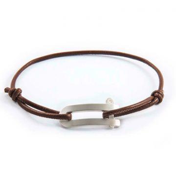 Bracelet Manille® homme sur lien cuir véritable (gravure manuelle)