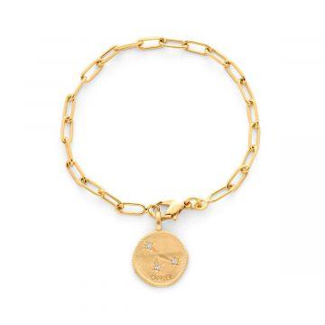 Bracelet médaille signe astrologique sur chaîne maillon ovale