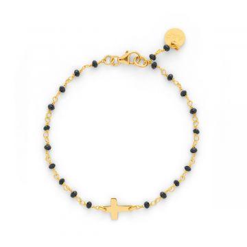 Bracelet mini croix sur chaîne de pierres Plaqué Or