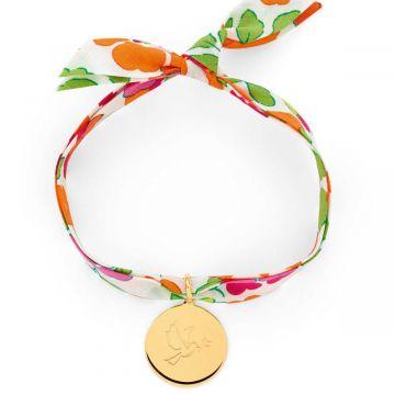 Bracelet petite médaille Colombe sur Liberty (gravure joaillier)