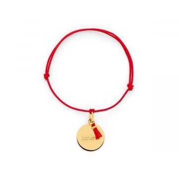 Bracelet petite médaille à message et mini pompon plaqué Or