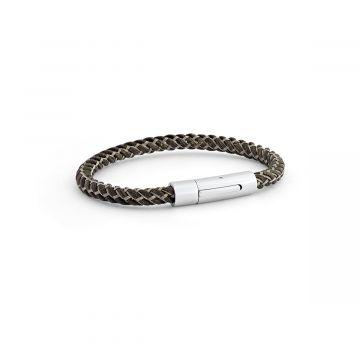 Bracelet Cuir Torsadé et fil acier