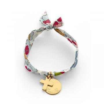 Bracelet petite médaille plate et mini croix sur lien Liberty (gravure manuelle)