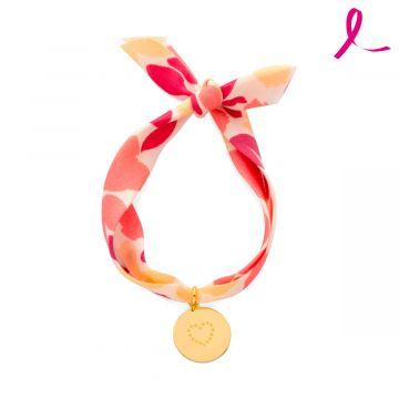 Bracelet petite médaille plate plaqué Or sur liberty - Octobre Rose