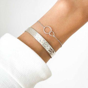 Duo Jonc large martelé et bracelet duo d'anneaux Argent massif