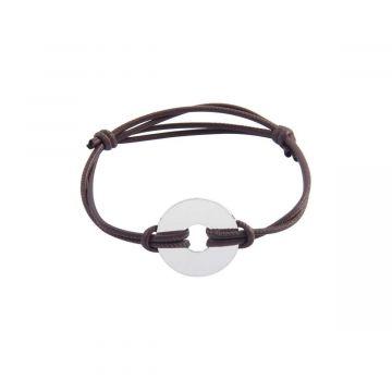 Bracelet petite cible pour homme sur lien cuir véritable (gravure manuelle)