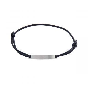 Bracelet homme plaque Argent brossé cuir (gravure joaillier)
