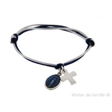 Bracelet médaille miraculeuse et mini croix Argent massif (gravure manuelle)