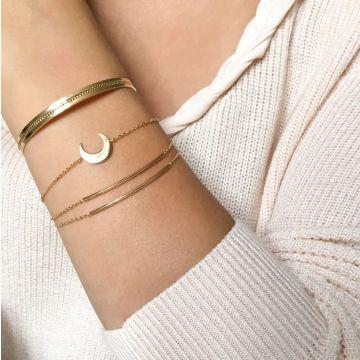 Trio de jonc ruban perles bracelet Venise et bracelet Lune