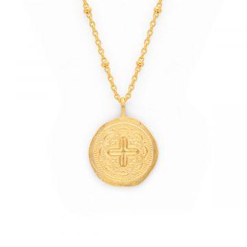 Collier médaille croix byzantine sur chaîne maille forçat perlée