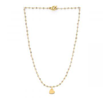 Collier chaîne de pierres semi-précieuses et mini breloque plaqué Or
