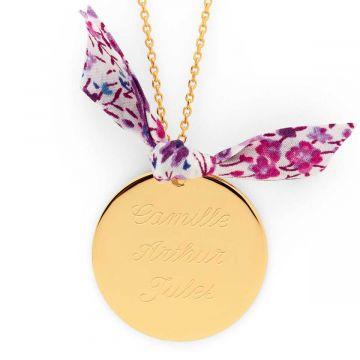 Collier grande médaille et noeud Liberty plaqué Or (gravure joaillier)
